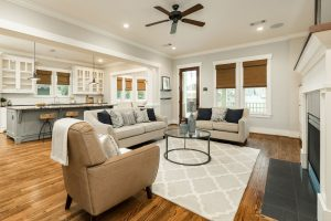 Family room staging in Houston Heights, TX