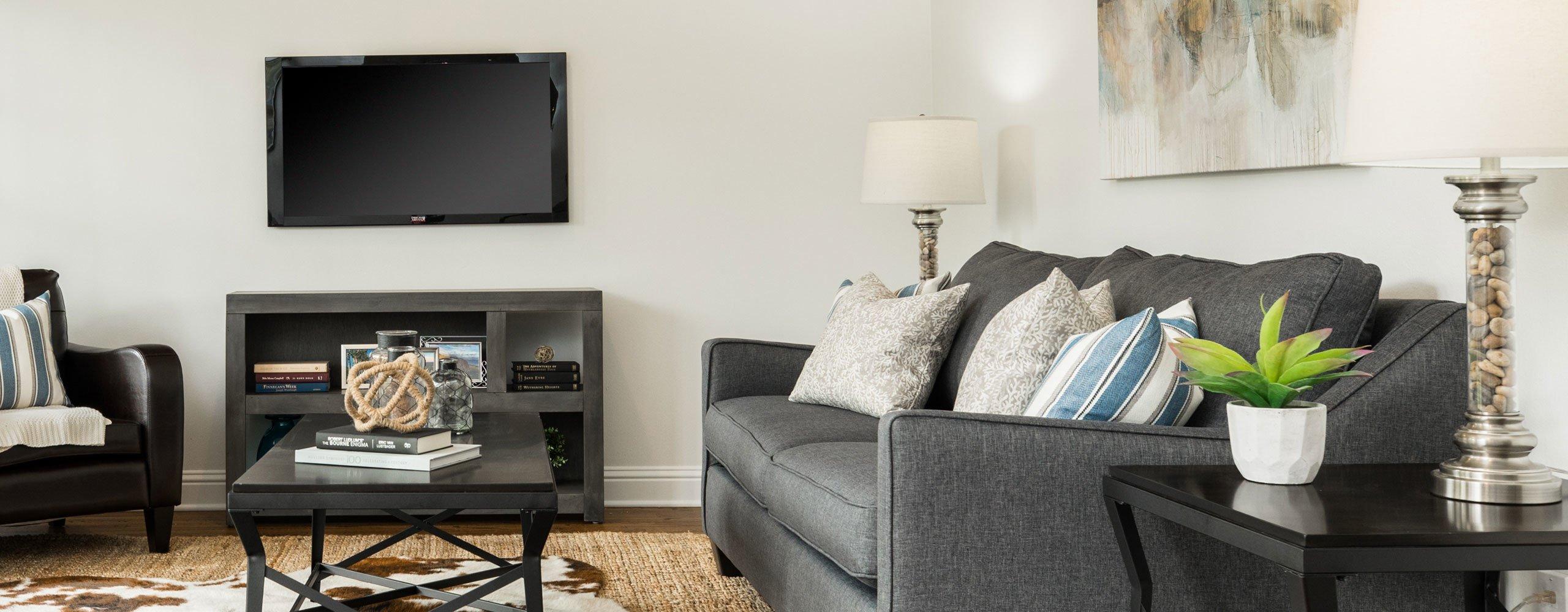 Living room staging in Houston, TX