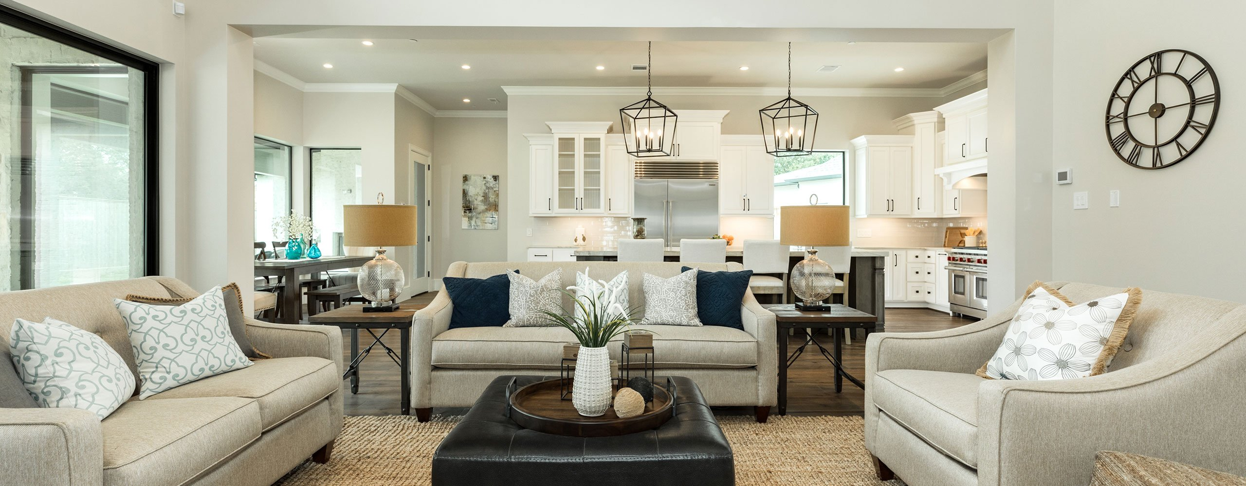 Family room staging in Houston, Texas